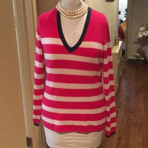 Lord & Taylor striped cashmere v neck sweater Sz M